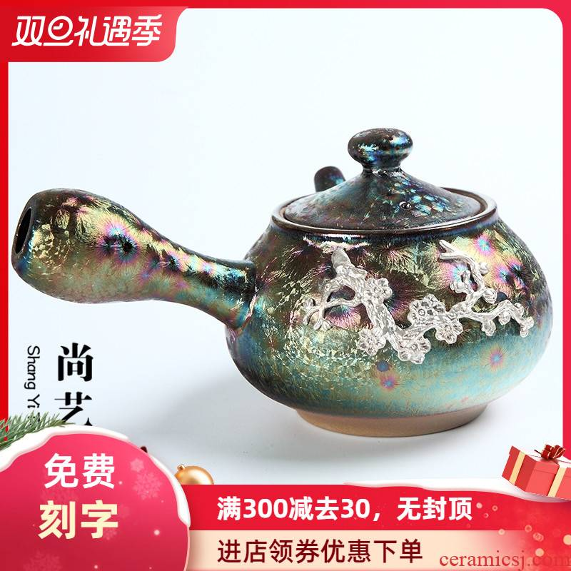 Colorful peacocks with silver teapot up side of kung fu tea set large ceramic filter the household single pot pot teapot