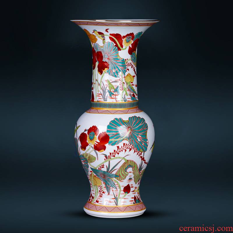 Jingdezhen ceramics colored enamel archaize creative floret bottle rich ancient frame sitting room adornment of Chinese style household furnishing articles