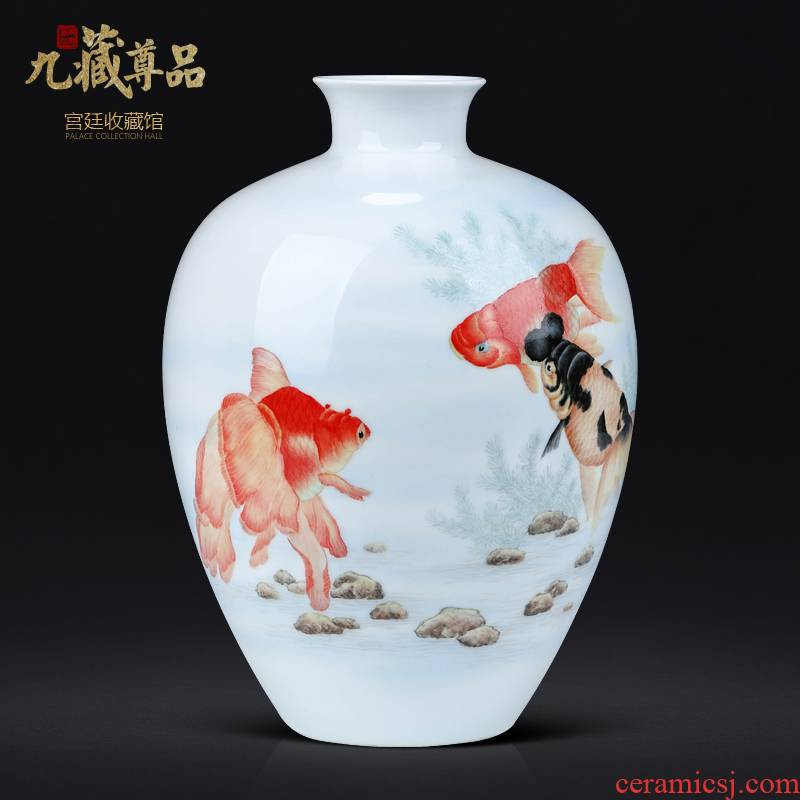 Chinese hand - made gold vase furnishing articles of jingdezhen ceramics sitting room porch TV ark, flower decorations