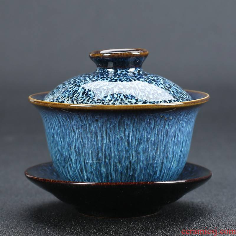 Hui shi tea with cover cup only three tureen large ceramic household variable to use kung fu tea tea bowl