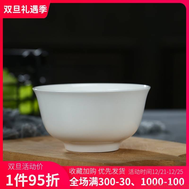 Pure white ipads China rice bowls contracted ceramic bowl porringer rainbow such as bowl home eat bread and butter of jingdezhen tableware bowls