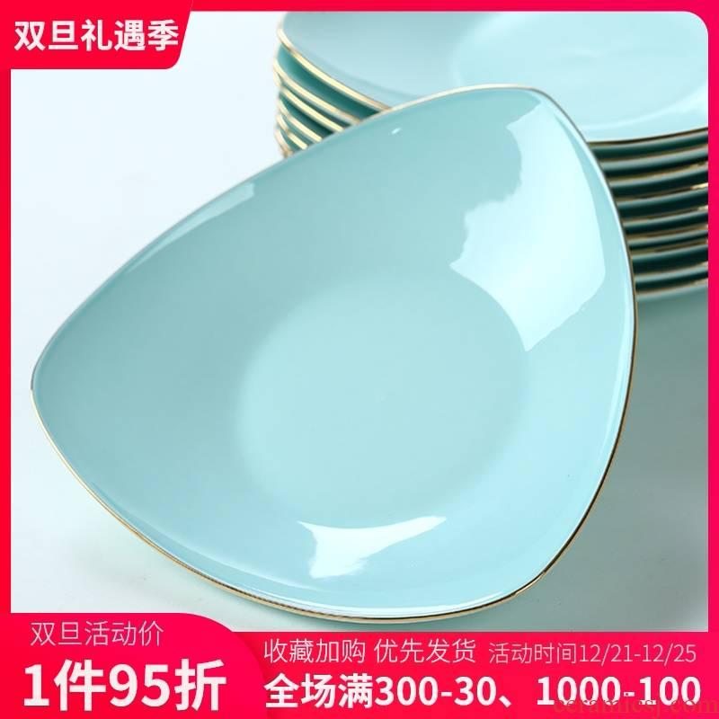 Jingdezhen celadon up phnom penh dish creative Korean plate ceramic deep dish FanPan soup plate household ipads porcelain dish dish