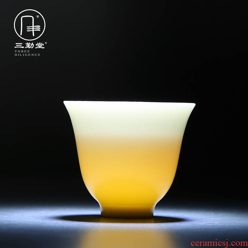 Three frequently hall cup single CPU jingdezhen ceramic kung fu tea set a single master cup tea color glaze puer tea cup