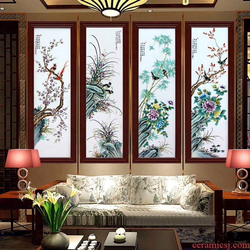 Jingdezhen ceramic hanging painter in the sitting room sofa setting wall adornment by patterns four screen porcelain plate painting