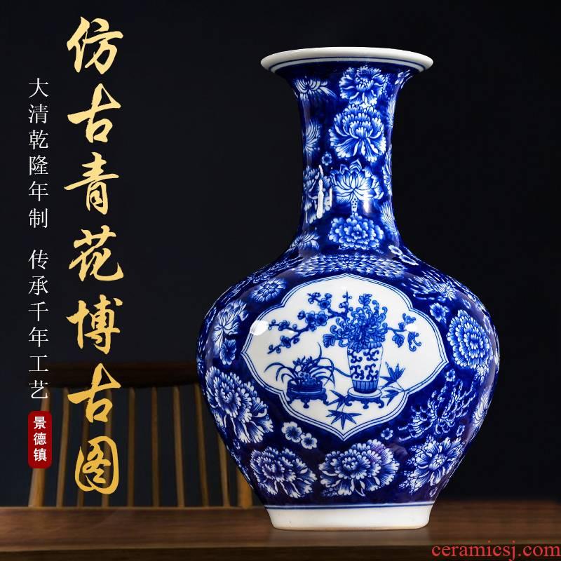Jingdezhen ceramic antique flower is blue and white porcelain vase yuanyang flower arrangement sitting room home TV ark adornment furnishing articles