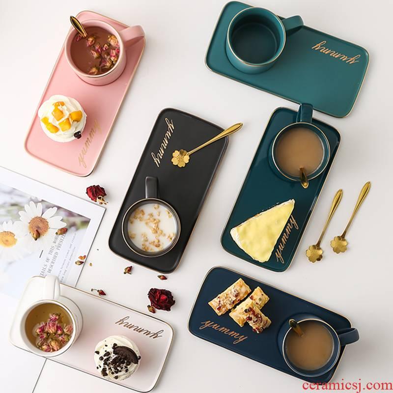 Japanese ceramics breakfast cup plate tableware suit household milk coffee cups and saucers snack cake plate of afternoon tea tea set