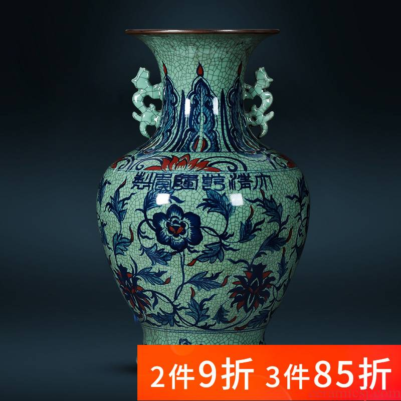 Jingdezhen porcelain ceramic hand - made large large blue and white porcelain vase landed furnishing articles to restore ancient ways Chinese style household ornaments