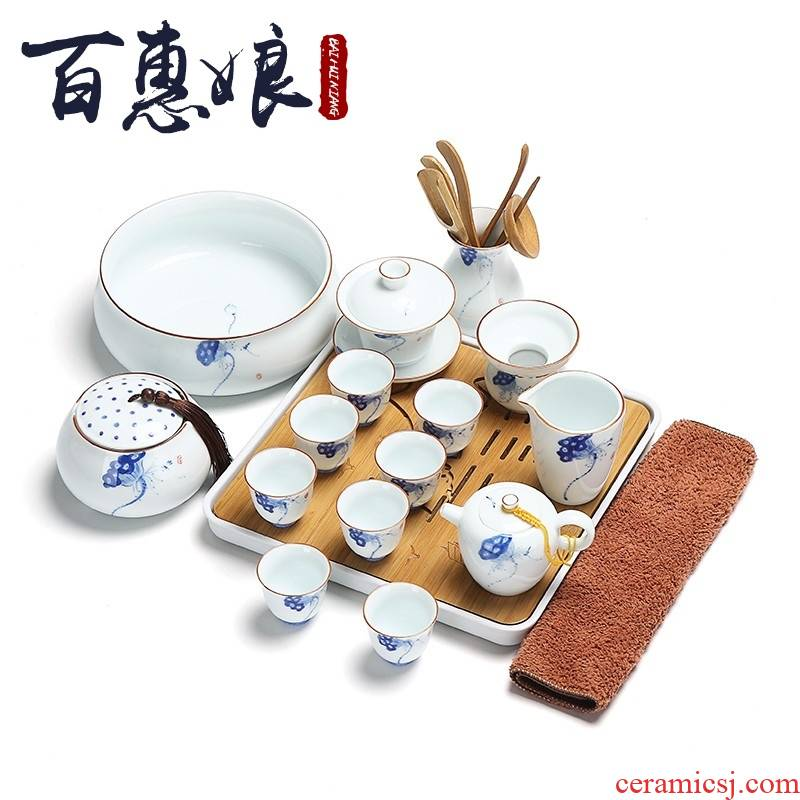 (niang jingdezhen hand - made tea sets household kunfu tea of a complete set of ceramic tea tray with white porcelain cups of tea