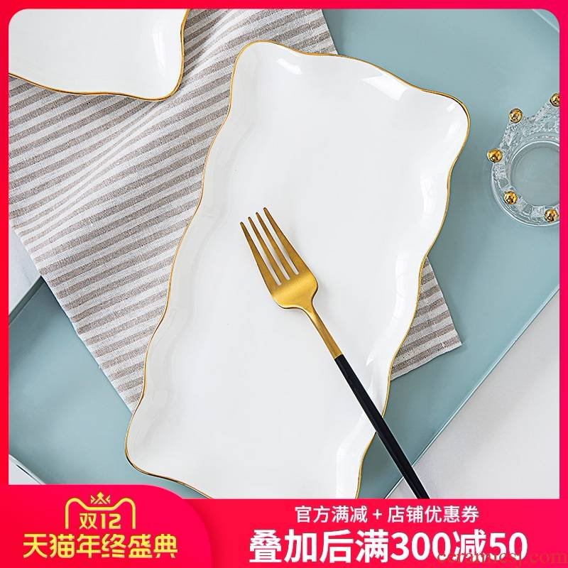 Jingdezhen up phnom penh ipads porcelain tableware shell plate special - shaped ceramic plate creative lace sushi plate rectangular plate