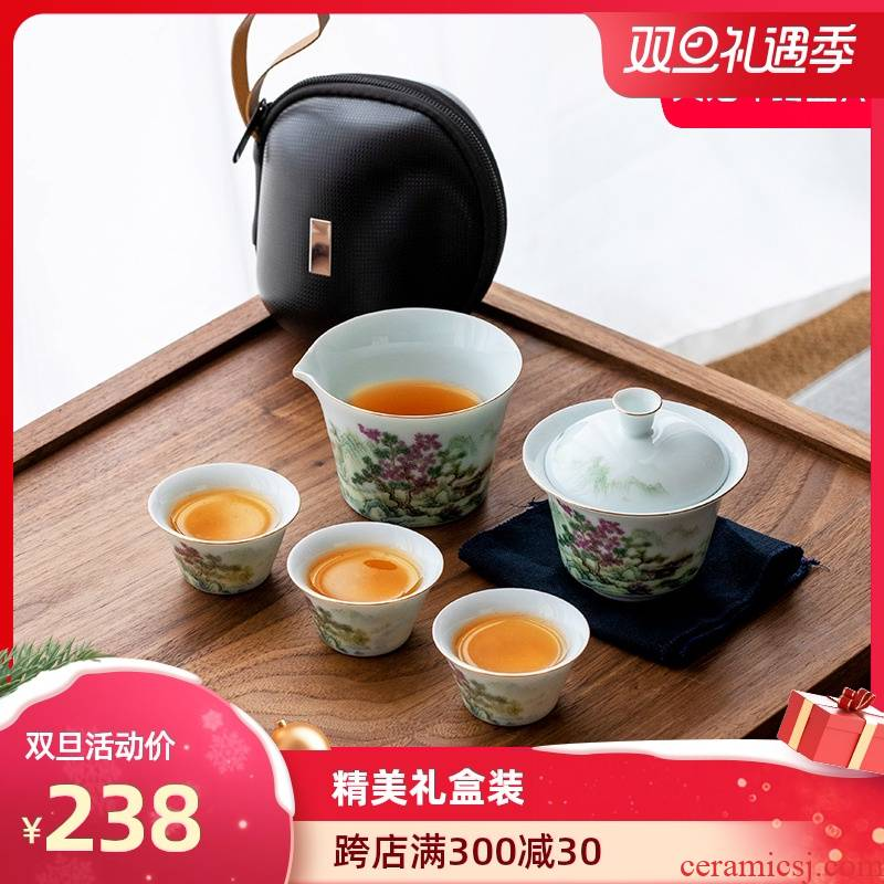 Artisan fairy mountains to crack a pot of three ceramic household receive package work travel kung fu tea set