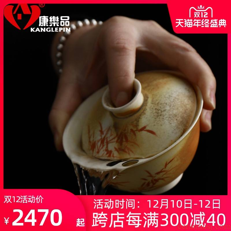 Recreation wood product pure manual water to boil piece can raise hand to bamboo tureen pottery stone kung fu tea tea cup