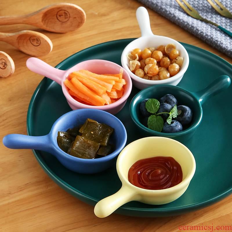 Creative ceramic mini Japanese salad flavor dish home plate dipping sauce condiment tomato sauce vinegar to dab