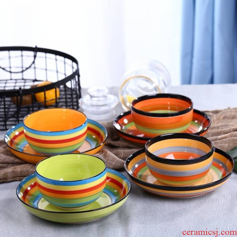 Jingdezhen ceramic bowl home eat rice bowl large mercifully rainbow rainbow such use creative move dishes express it in the set of tableware