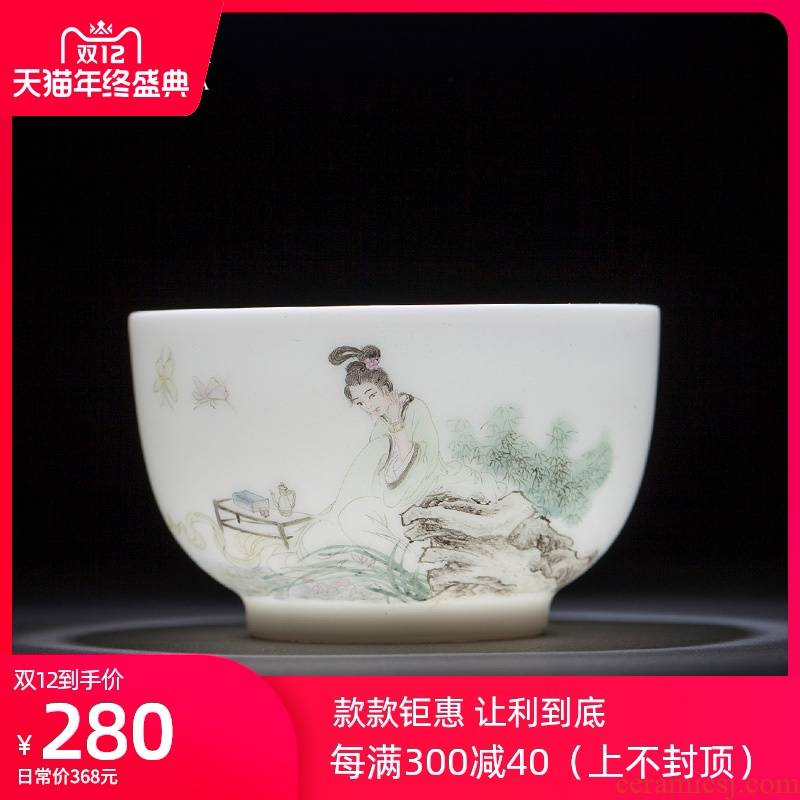 Santa teacups hand - made ceramic kung fu new colored maid figure for a cup of cup sample tea cup single cup of jingdezhen tea service master