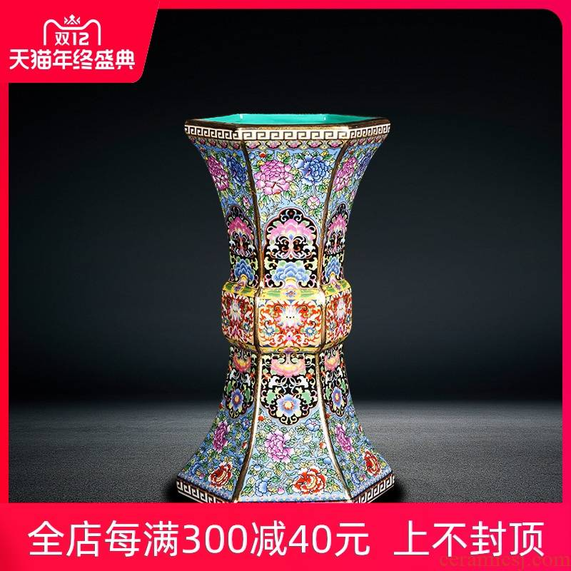 Jingdezhen ceramics vase furnishing articles colored enamel archaize home sitting room ark, flower arranging Chinese ancient frame decoration
