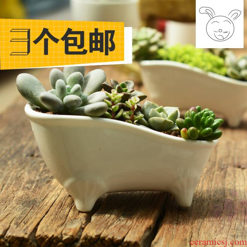 3 a fold ceramic flower pot hydroponic white porcelain mini flowerpot more meat three package mail small bathtub