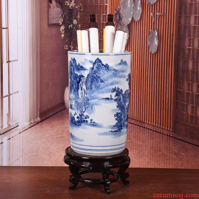 Jingdezhen ceramic vase quiver of blue and white porcelain painting and calligraphy tube branch lotus sitting room study landscape painting scroll cylinder furnishing articles
