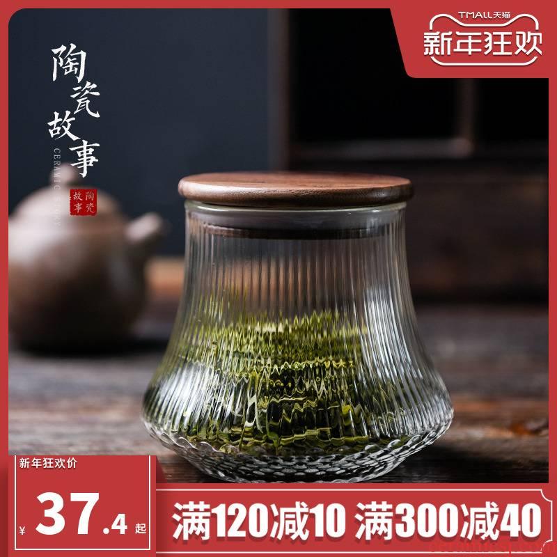 Ceramic glass tea pot seal solid wood cover story pu - erh tea storage tanks with portable storage tea pot