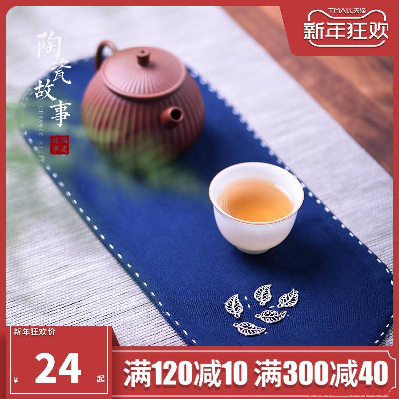 Ceramic story thickening of pure cotton and linen cloth art is small tea towel kung fu tea table accessories zen tea pot cup mat absorbent cloth