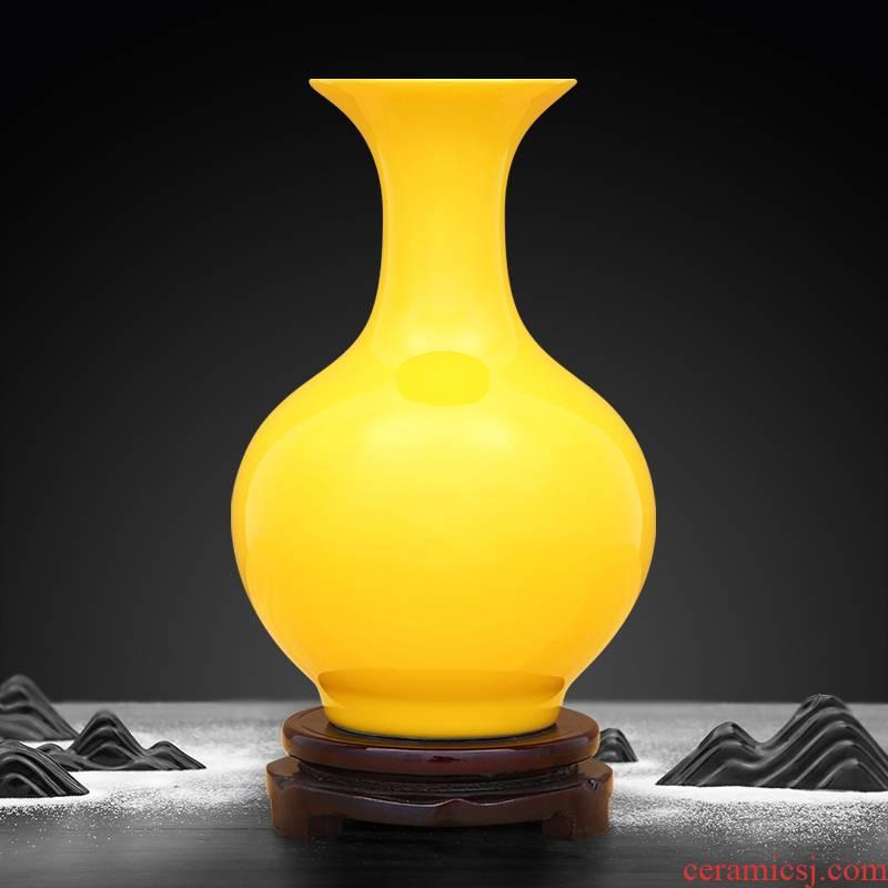 Jingdezhen ceramic vase creative room pure yellow color glaze decoration handicraft furnishing articles office sitting room