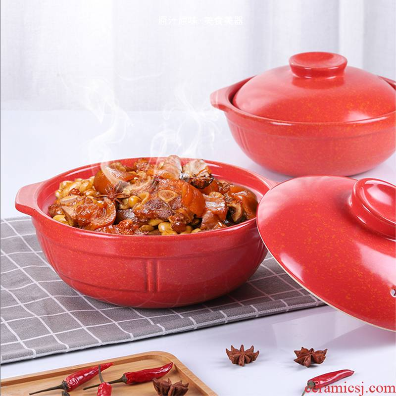 Earthenware pot soup home high - temperature dry high - capacity ceramic pot stew general casserole soup pot, induction cooker gas