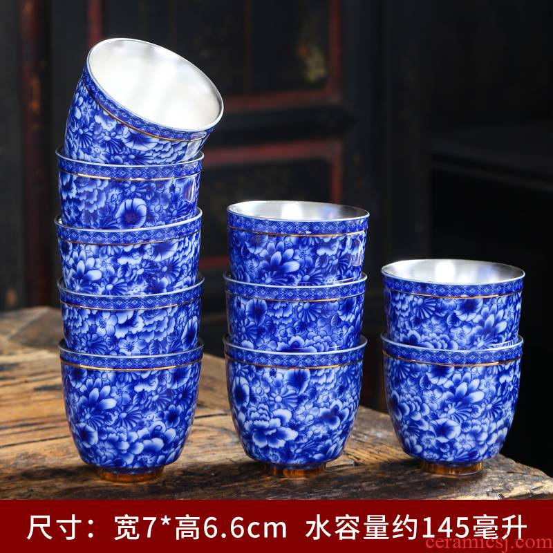 Kung fu master small ceramic cups of individual single cup bowl of jingdezhen blue and white porcelain tea set a single tea cup
