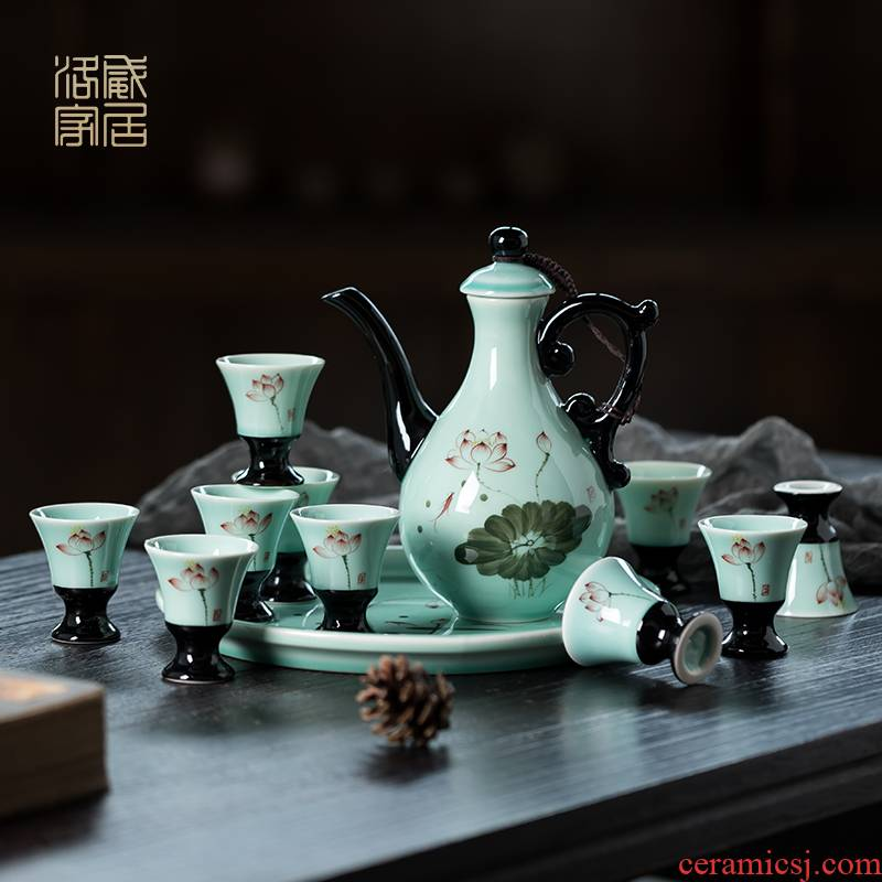 Blower, wine package celadon liquor cup home a koubei hand - made small glass Chinese wind ceramic wine