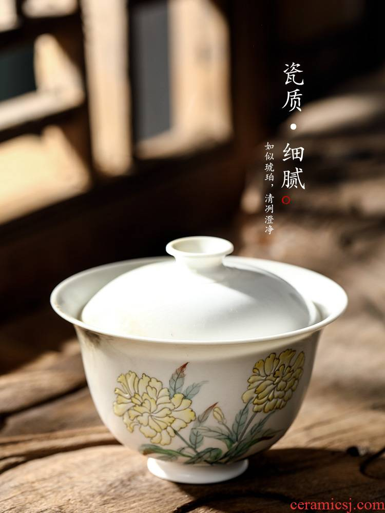 Jingdezhen pure manual tureen tea cups are not hot ceramic hand - made individual to use Chinese kongfu tea set