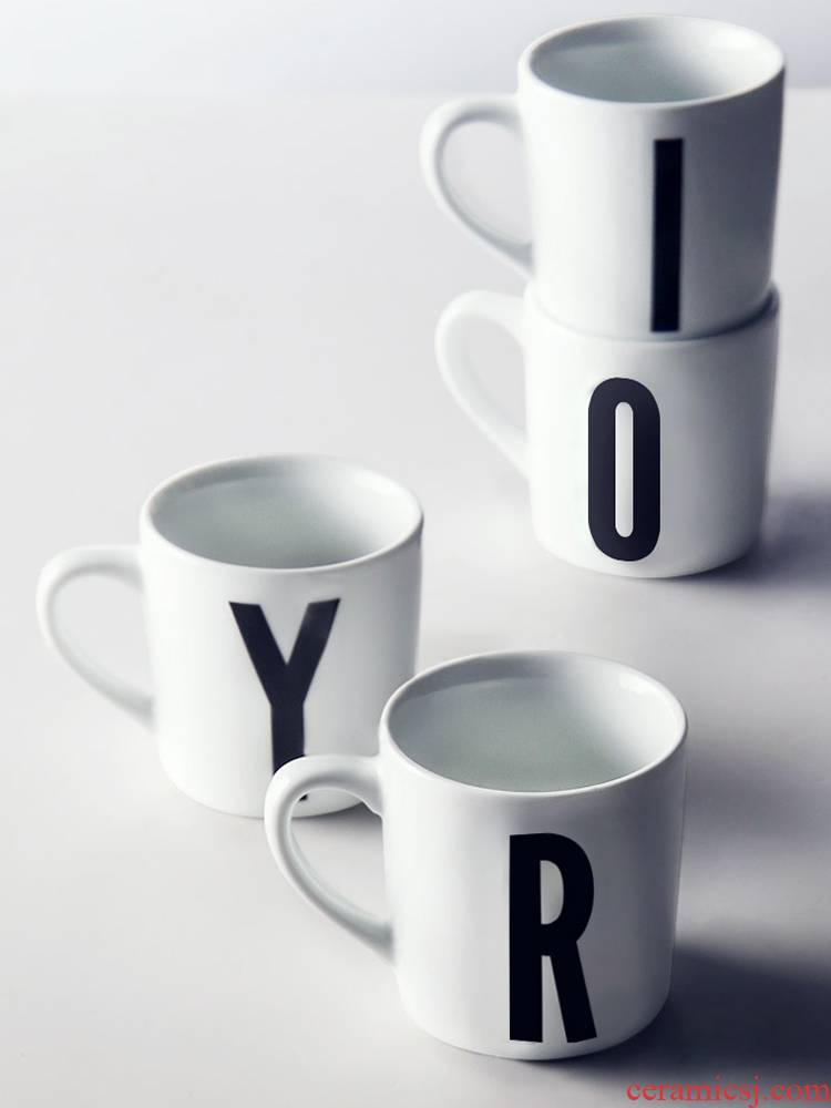 About Nine soil ins mark cup coffee cup contracted wind ceramic letters water cup for cup move couples the custom logo