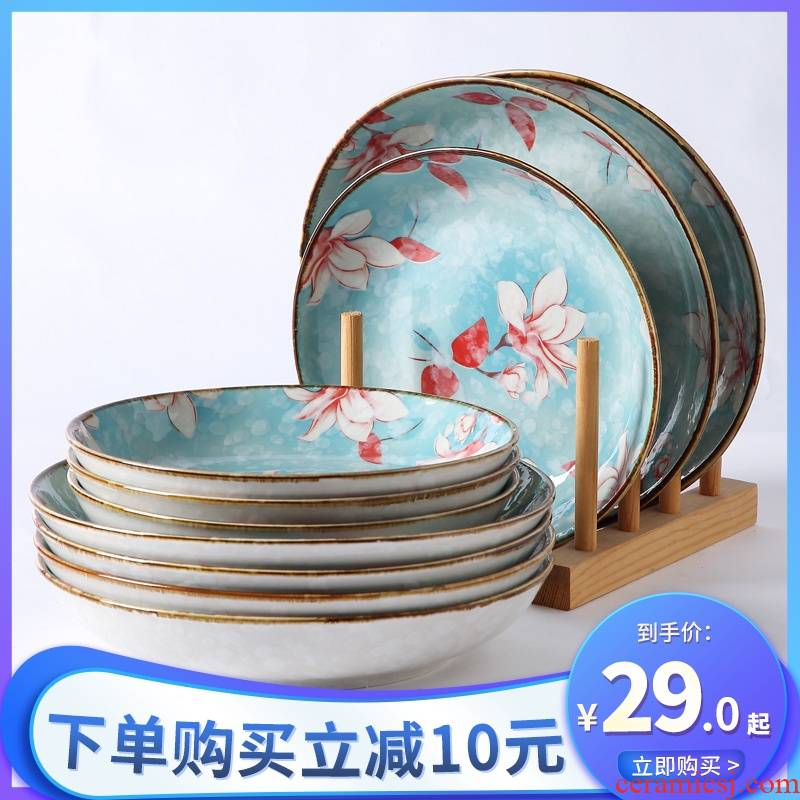 Japanese ceramic dish dish dish home six northern creative web celebrity dish soup plate under the glaze color tableware suit