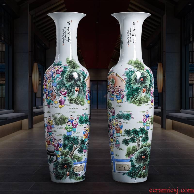 Jingdezhen porcelain ceramic ring hand - made pastel lad spring ground extra large size vase furnishing articles furnishing articles sitting room adornment