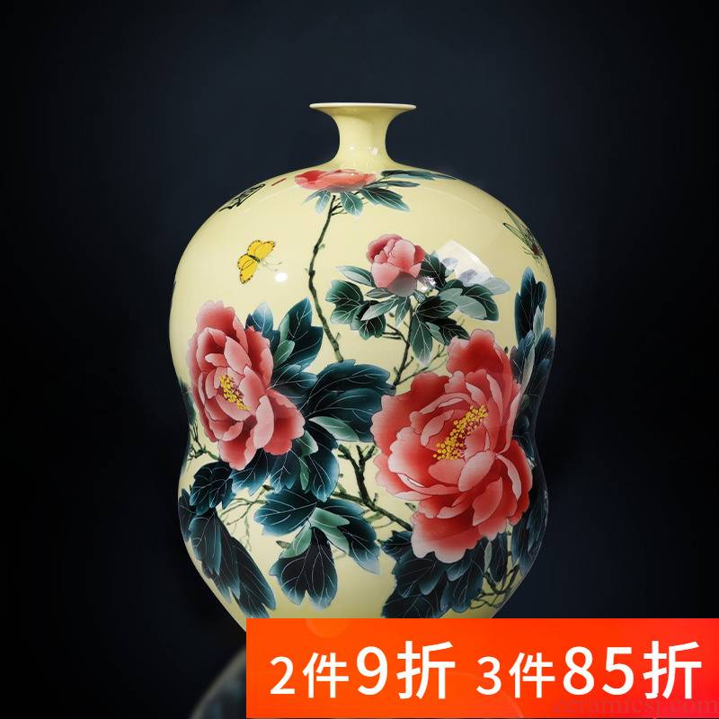 Jingdezhen porcelain ceramic masters hand made peony gourd vase furnishing articles of the new Chinese style home sitting room adornment