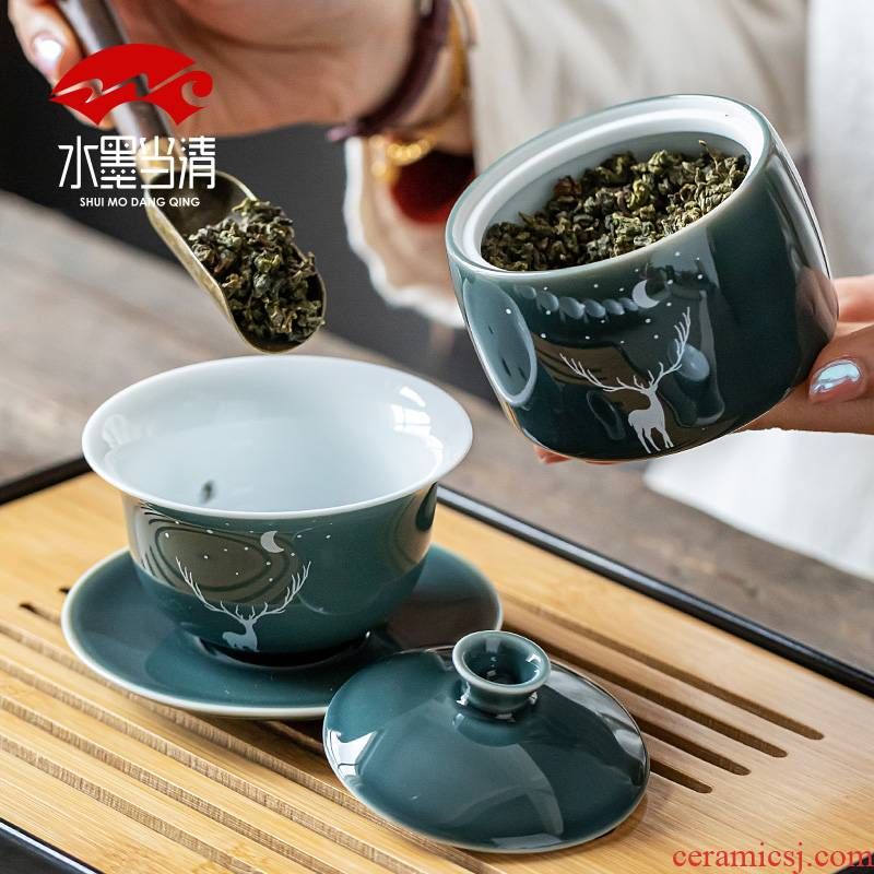 Creative ceramic kung fu tea set suit household of Chinese style restoring ancient ways a visitor office side teapot tea cup contracted
