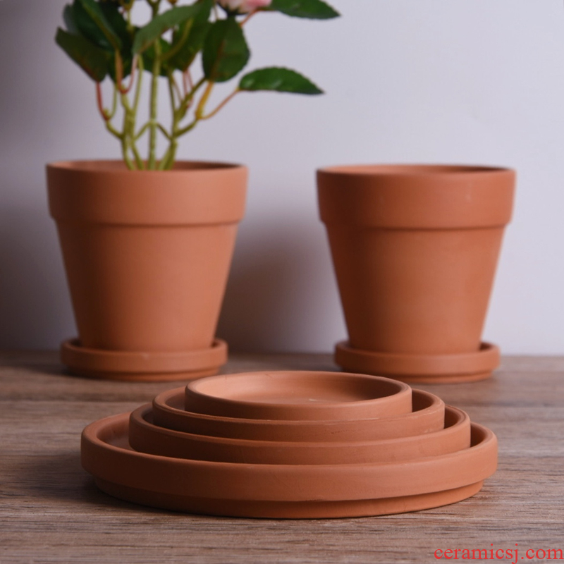 Red clay tray ceramic water pans round plate clay pot mat base household waterproof tap parcel post