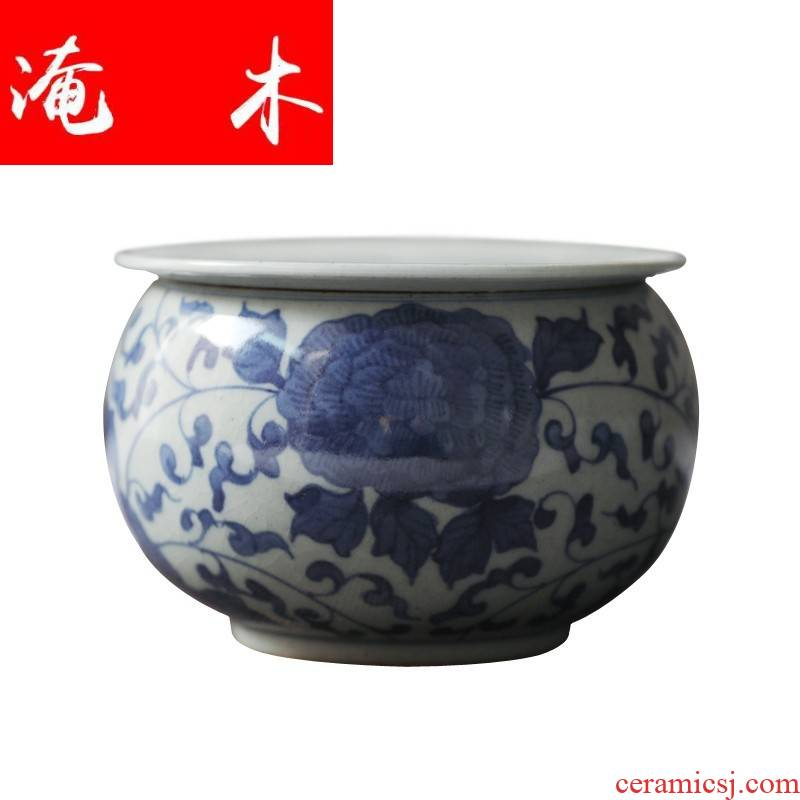 Submerged wood jingdezhen blue and white coarse pottery tea wash mud - hand - made ceramic small washing slag bucket Japanese kung fu tea set was built