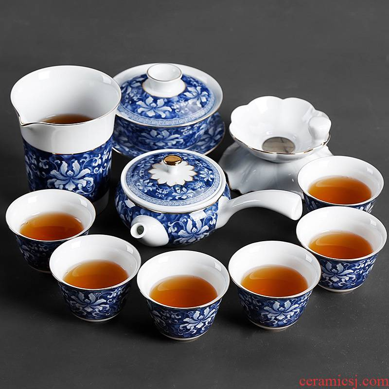 Jingdezhen blue and white porcelain kung fu tea set of household ceramic teapot teacup Chinese style restoring ancient ways contracted creative side