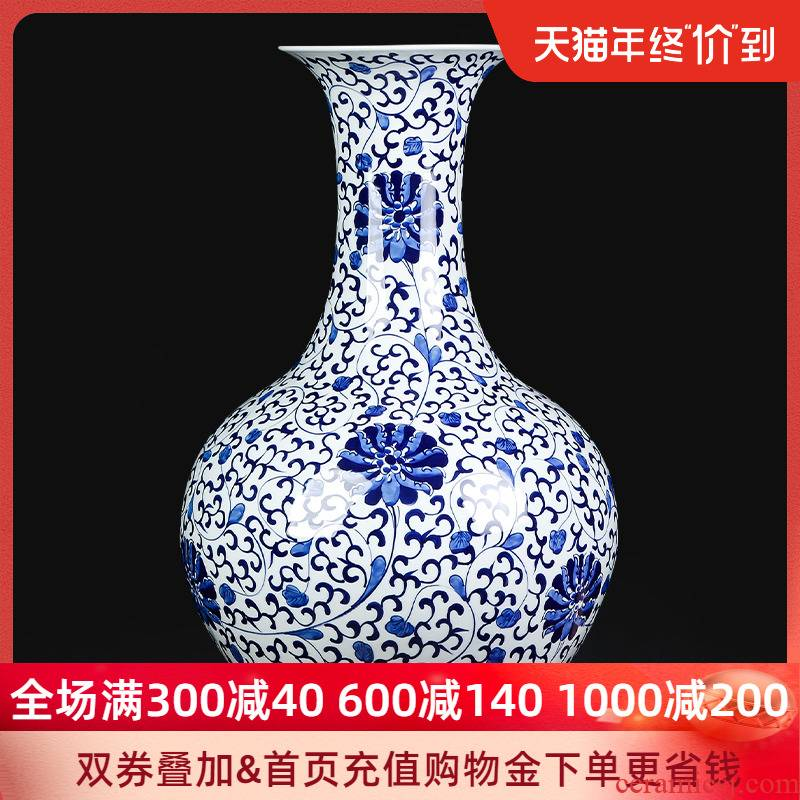 Restoring ancient ways of jingdezhen ceramics hand - made of tie up large Chinese lotus flower of large vase of blue and white porcelain sitting room adornment