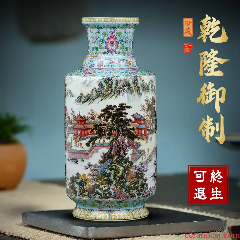 Jingdezhen ceramic vase pastel Chinese antique flower arrangement home TV ark, porcelain desktop sitting room adornment is placed