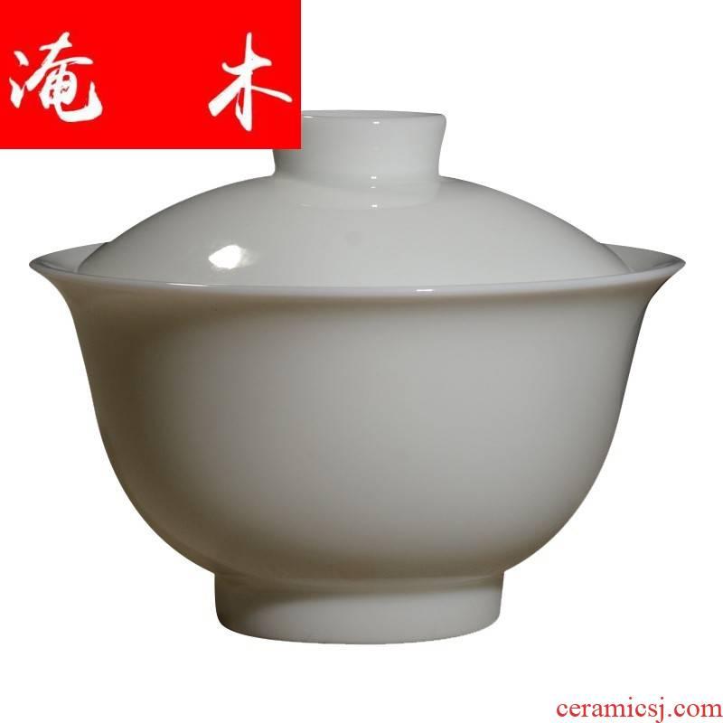 Submerged wood jingdezhen ceramic no riding high jade white mud mud tureen white porcelain high temperature porcelain kung fu tea tea bowl