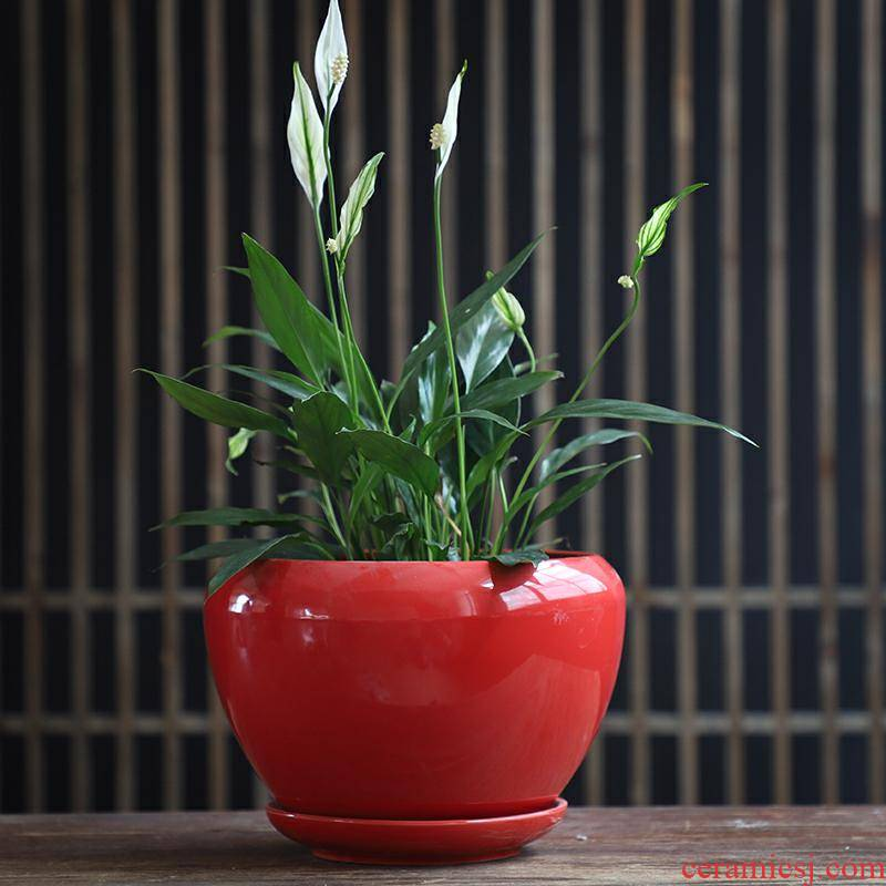 Flowerpot ceramic red yellow Chinese wind with pallet money plant bracketplant creative move heavy large fleshy flower pot