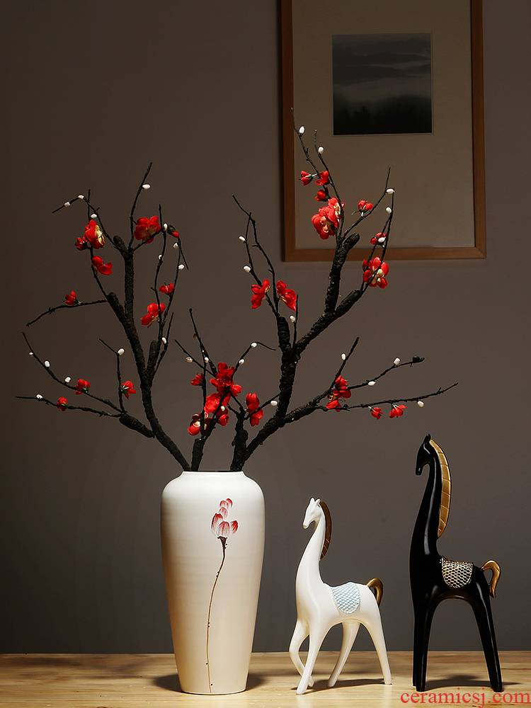 Jingdezhen ceramics vase simulation study of new Chinese style living room white dry flower arrangement suits for furnishing articles household act the role ofing is tasted