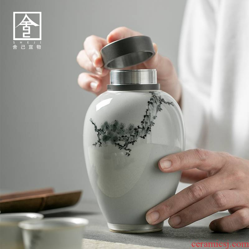 """The Self - """"appropriate content of jingdezhen hand - made of trace silver wind caddy fixings receives Chinese style restoring ancient ways Japanese tea storage tanks"""