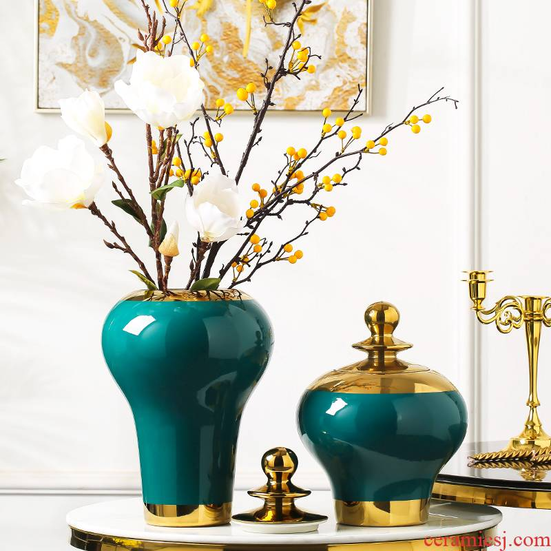 I and contracted light of new Chinese style key-2 luxury ceramic vases, general tank furnishing articles household act the role ofing is tasted, the living room table decoration decoration