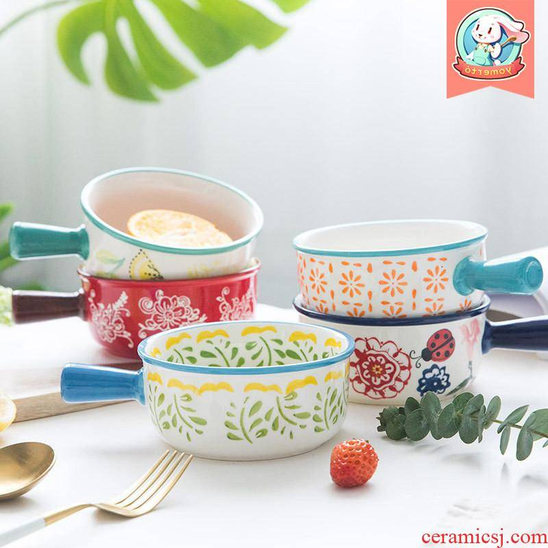 The Japanese kitchen ins web celebrity creative dishes soup bowl express single handle porridge to use ceramic home children