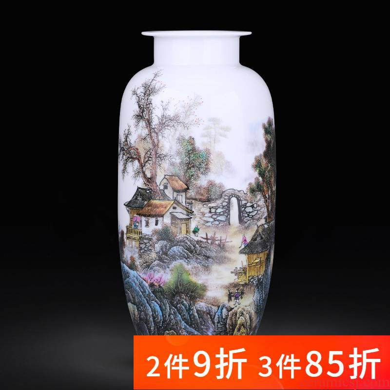 Jingdezhen porcelain ceramic expressions using straight pastel landscape vases, new Chinese style household living room TV cabinet decoration