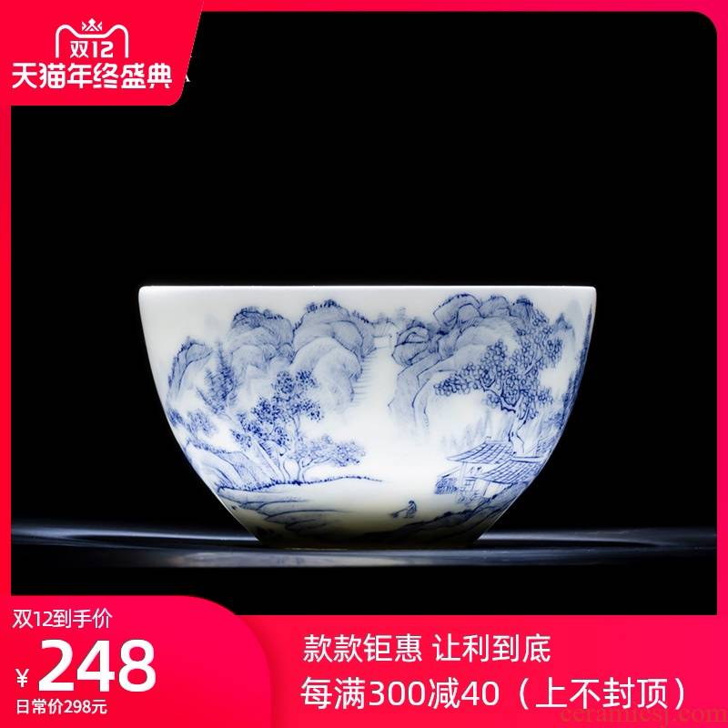 Holy big blue and white valley teacups hand - made ceramic kung fu family lie fa cup cup all hand of jingdezhen tea service master