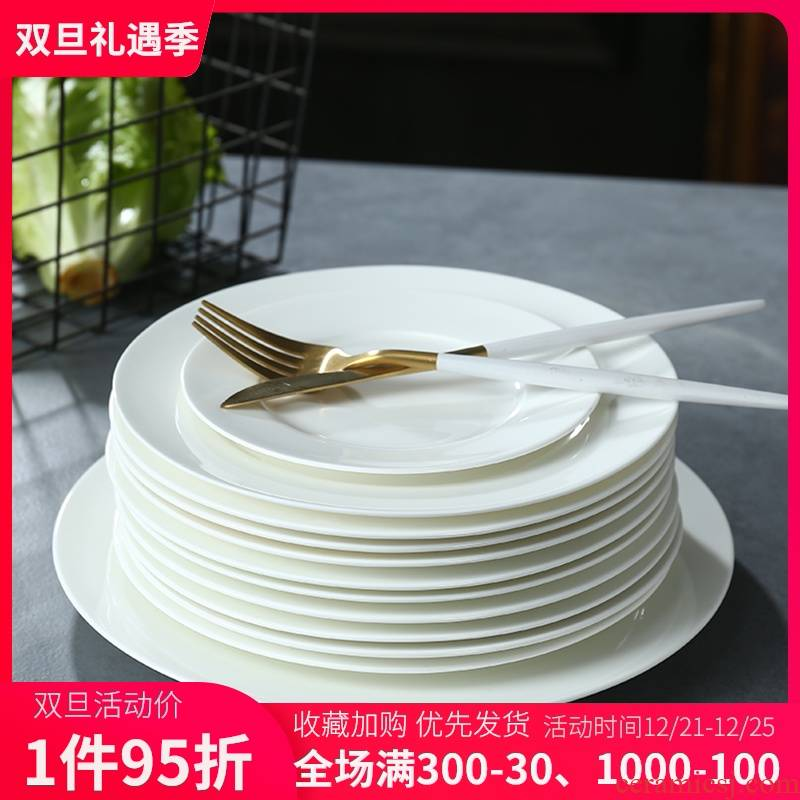 Ipads porcelain child suit household pure white tableware plate flat dish jingdezhen ceramic dish dish dish dish dish of western food