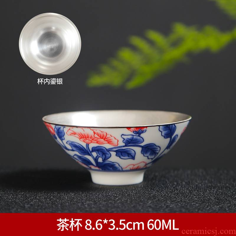 Blue and white porcelain cup 10 ceramic kung fu suit small single CPU personal cup tea cups hat lamp that restore ancient ways tea cup