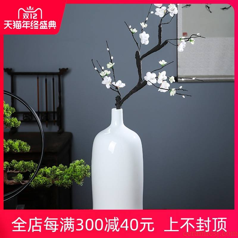 Jingdezhen ceramics pure white vase is I and contracted dry flower arranging furnishing articles mesa adornment household porch