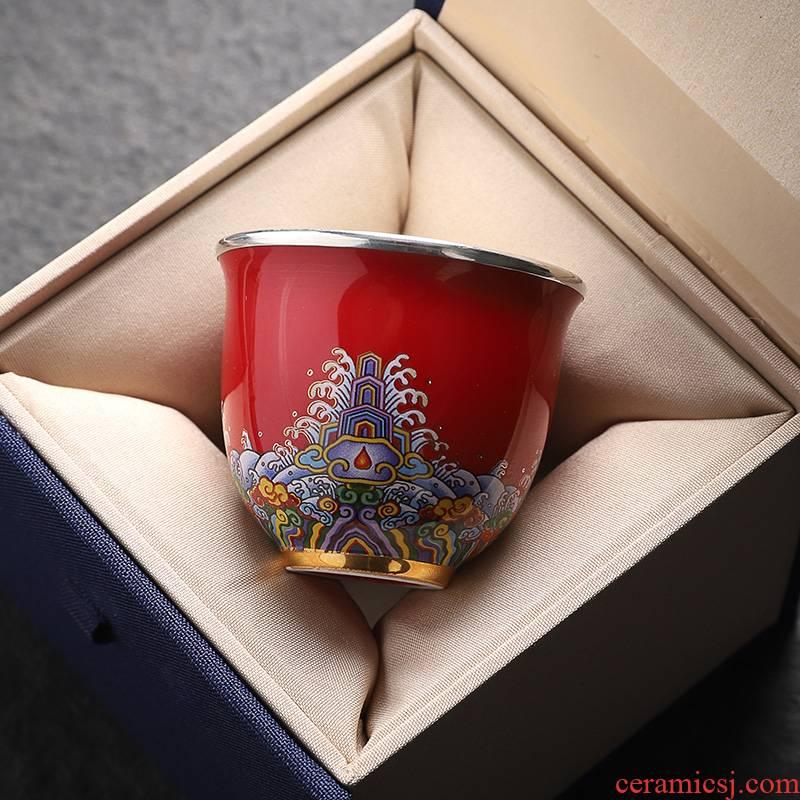 "Jingdezhen ceramic colored enamel cup high - grade silvering cup silver 999 edible tea master cup single cup ""women"